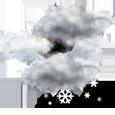 Overcast, light snow